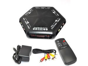 iKKEGOL 5 Way 4 Port IN 1 Out RCA S-Video Video Audio Game AV Switch Box Selector Remote