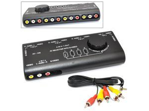iKKEGOL® 4 in 1 AV Audio Video Signal Switcher Splitter S-Video Selector with RCA Cable