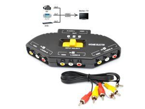 iKKEGOL® Audio Video RCA 3 Port  Way Selector Switcher with AV Cable
