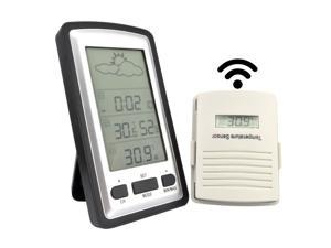 Digital Wireless Weather Forecast Station In /Outdoor C/F Thermometer Humidity Sensor Time Date Calenda Alarm Clock Barometer Hygrometer Receiver + Transmitter