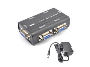 Mini 1 to 4 Port VGA Splitter Amplifier Video Monitor TV Projector Boosting 250M