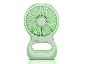 iKKEGOL Portable Enhanced 3-Level Speed Adjustable Mini USB Small Fan Air Cooler Table Mini Fan Desktop Fan Personal Fan with LED Lamp for Computer Home Office Car Outdoor Indoor-Green