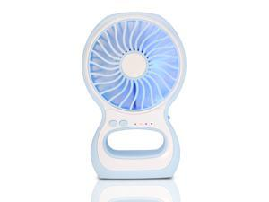 iKKEGOL Portable Enhanced 3-Level Speed Adjustable Mini USB Small Fan Air Cooler Table Mini Fan Desktop Fan Personal Fan with LED Lamp for Computer Home Office Car Outdoor Indoor-Blue