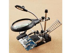 iKKEGOL DC/AC110-220V 5 LED 2 Lens Auxiliary Alligator Clip Magnifier Third Hand Soldering Solder iron stand