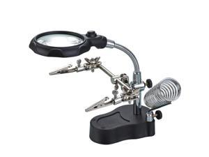 iKKEGOL Helping Hand Magnifier LED Glass Soldering Iron Station Stand 3.5X 12X Jewelry Repair Third Clamp Tool