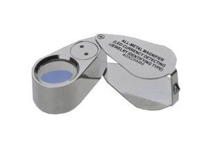 iKKEGOL 40X 25mm All Metal Magnifier Jeweler LED UV Lens Jewelery Loupe Magnifier (LED Currency Detecting/Jewelry Identifying Type)