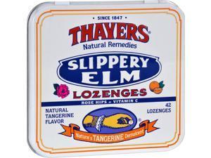 Thayers Slippery Elm Lozenges Tangerine - 42 Lozenges - Case of 10