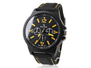 V6 Men's Sports Wrist Watch - Rubber Band - Black & Yellow