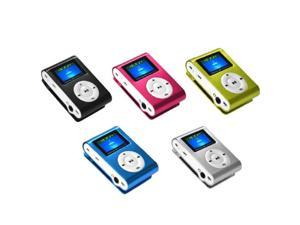 Metal Clip LCD Screen FM Radio Support 2GB-16GB Micro SD/TF Card Slot Mp3 Player-Color Green