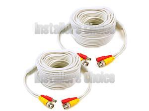 2 x 100ft Security Camera Cable CCTV Video Power Wire BNC RCA White Cord DVR white