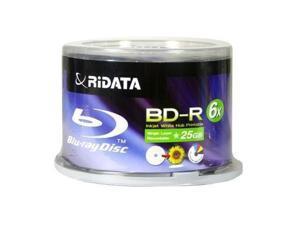 New 50 pcs Ritek Ridata Blu-Ray BD-R Media Discs 6X 25GB White Inkjet Hub Printable