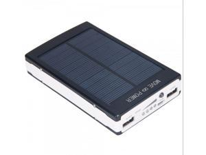 Black 30000mAh Dual USB Portable Solar Panel Battery Charger Power Bank