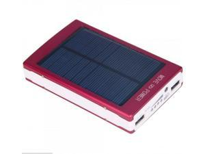Red 30000mAh Dual USB Portable Solar Panel Battery Charger Power Bank