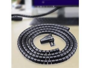 PE Cable and Wire Spiral Tidy Wrap with Clip Organizer - Black (250cm)