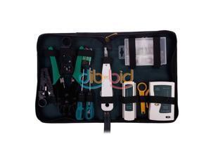 9pcs RJ45 RJ11 CAT5 LAN Network Tool Kit Cable Tester Crimper Stripper Set OBUS