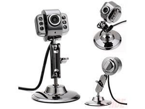 Metal USB 6 LED Night Vision Webcam Camera w/ Mic Microphone for Laptop PC