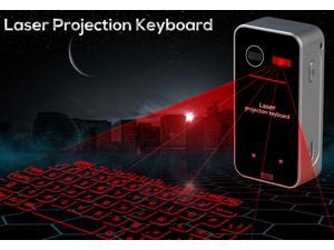 Black Wireless Ultra-Portable Full-Size Virtual Laser Keyboard Mouse Bluetooth