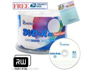 50 Smartbuy DVD+R DL 8X 8.5GB Dual Layer Logo Blank Disc +FREE Micro Fiber Cloth