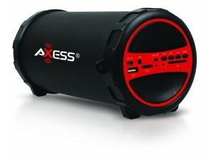 Axess Portable Bluetooth Hi-Fi Cylinder Loud Speaker - SD & USB Input - Red