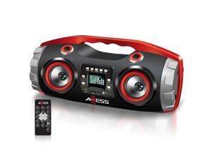 Axess Heavy Bass Portable Bazooka Bluetooth Boombox Speaker USB CD FM MP3 RED