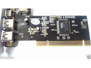 PCI FireWire IEEE 1394 3 & 1 Port Card & 4/6 Pin Cable For Windows