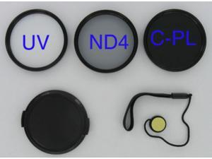 BOWER 72mm Filter KIT UV+CPL+ND 4 ND4 Neutral Density + LENS CAP + CAP KEEPER