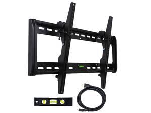 "VideoSecu Heavy Duty Tilt TV Wall Mount for most 37 40 46 48 50 55 60 65"" LCD LED Plasma with VESA up to 600x400mm – Low profile/ Cable Management/ Free HDMI cable and Bubble level M33"