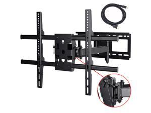 "VideoSecu Tilt Swivel Articulating Dual Arm Full Motion TV Wall Mount Bracket for most 40-70"" LCD LED Plasma 3D HDTV with loading 165lbs, Max VESA 684x400mm/ Cable Management/ Free 10ft HDMI Cable A37"