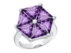 Babao Jewelry Purple Hexagon 18K Platinum Plated Swarovski Elements Cubic Zirconia Crystal Ring