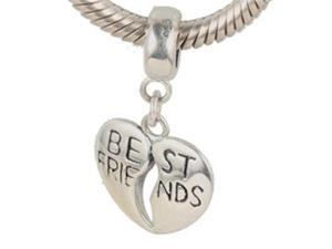 Babao Jewelry Heart Best Friends Soild Authentic 925 Sterling Silver Bead Fits Pandora Style European Charm Bracelets