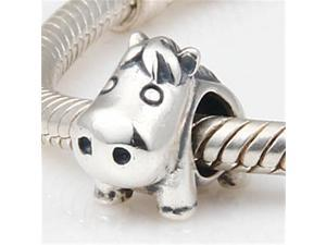 Babao Jewelry Hippo Soild Authentic 925 Sterling Silver Bead Fits Pandora Style European Charm Bracelets