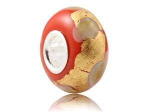 Babao Jewelry Red White Dot Murano Glass Gold Foil Bead 925 Sterling Silver Core fits Pandora European Charm Bracelets