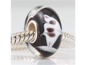 Babao Jewelry Great White Shark Murano Glass Bead 925 Sterling Silver Core fits Pandora European Charm Bracelets