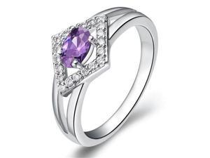 Babao Jewelry Purple Rhombus 18K Platinum Plated Swarovski Elements Cubic Zirconia Crystal Ring
