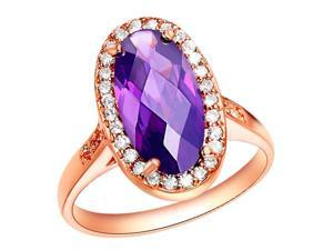 Babao Jewelry Luxurious Purple Oval 18K Rose Gold Plated Swarovski Elements Cubic Zirconia Crystal Ring