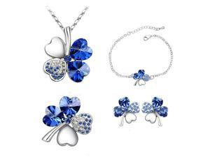 Babao Jewelry Sweet Clover Leaves 18K Platinum White Gold Plated Austrian Swarovski Elements Cubic Zirconia Crystal Pendant Necklace Brooch Earrings Bracelet Set