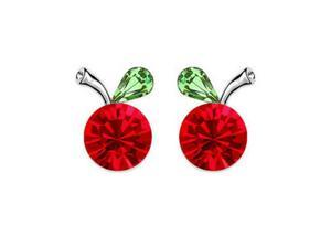 Babao Jewelry Cherry 18K Platinum Plated Swarovski Cubic Zirconia Crystal Stud Earrings