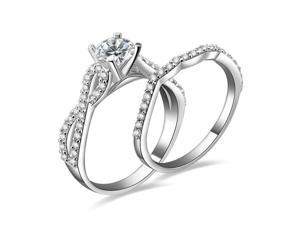 Babao Jewelry Dazzling Elegance 8 Double 18K Platinum Plated Authentic 925 Sterling Silver Clear CZ Crystal Ring