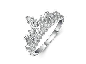Babao Jewelry Luxury Princess Crown Authentic 925 Sterling Silver Clear Austria CZ Crystal Ring