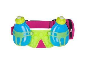FuelBelt Helium H20 2-Bottle Hydration Belt: Maui Pink/Lagoon Green/Honolulu Blue One Size