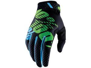 100% Ridefit 2017 MX/Offroad Gloves Black/Lime LG