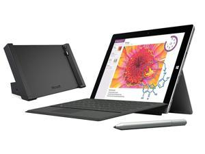 Microsoft Surface 3 Bundle - 4 Items: 128GB Wi-Fi Only Quard-Core 10.8-Inch Tablet, Original Black Keyboard, Surface Pen, Surface Dock