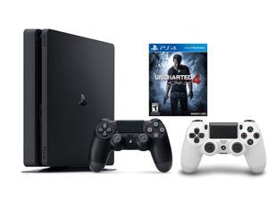 PlayStation 4 Slim Console 2 items Bundle:PS4 Slim - Uncharted 4 Bundle,Sony PlayStation 4 Dualshock 4 Wireless Controller Glacier White
