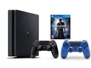 PlayStation 4 Slim Console 2 items Bundle:PS4 Slim - Uncharted 4 Bundle,Sony PlayStation 4 Dualshock 4 Wireless Controller Wave Blue