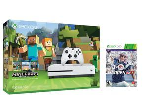 Xbox one S Console Bundle 2 items: Xbox One S 500GB Console - Minecraft Bundle, Madden NFL 17 Game Disc