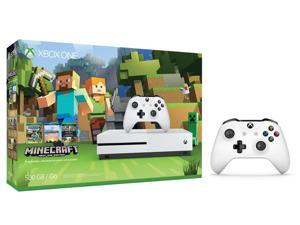 Xbox One S Console Bundle 2 Items: Xbox One S 500GB Console - Minecraft Bundle, Extra Xbox Wireless Controller (White)
