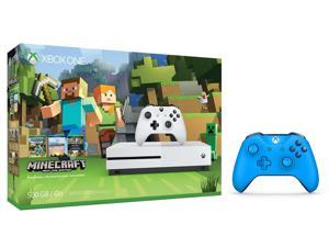 Xbox One S Console Bundle 2 Items: Xbox One S 500GB Console - Minecraft Bundle, Extra Xbox Wireless Controller (Blue)
