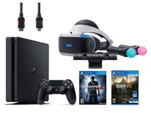 PlayStation VR Bundle (5 Items): PlayStation 4 Slim 500GB Console with Uncharted 4, VR Headset, Playstation Camera, Move Motion Controllers, Resident Evil 7: Bi