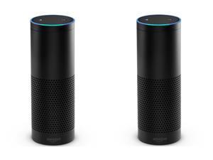 Set of 2 Amazon Echo Hands-Free Smart Home Speakers with Alexa , Black