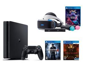 PlayStation VR Bundle - VR Bundle,PlayStation 4 Slim 500GB Console - Uncharted 4, VR Game Disc PSVR Until Dawn, Rush of Blood